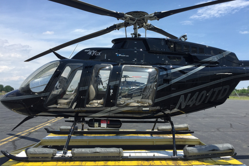 Side view of Black helicopter