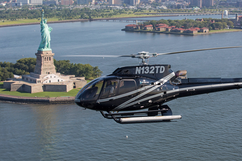View of the majestic statue of liberty from a helicopter