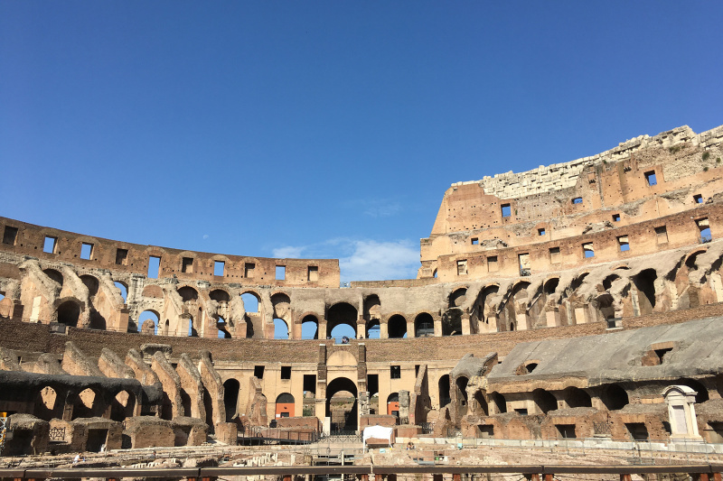 View of the Colosseum, an oval amphitheatre in the centre of Rome