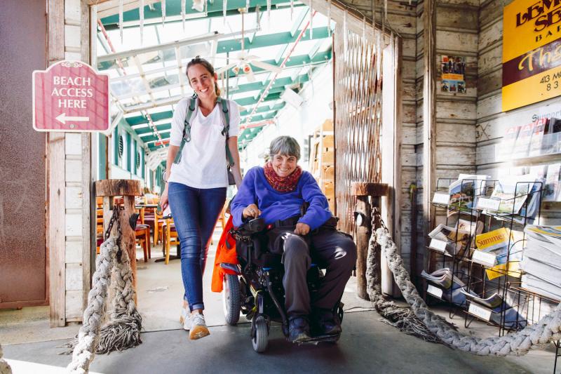 Wheel the World travelers explore Carmel's central plaza