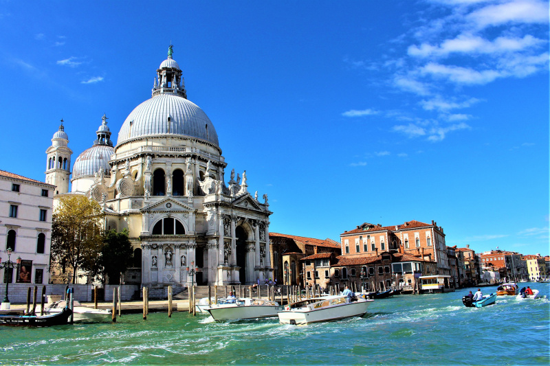 Church of Santa Maria della Salute with neighboring canals and ancient architecture