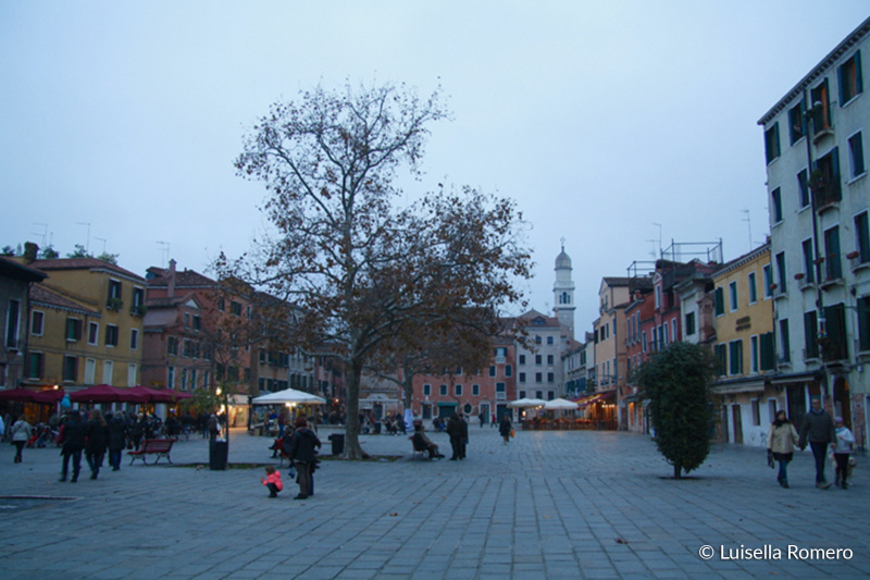 Campo Santa Margherita plaza with shops and paved floors
