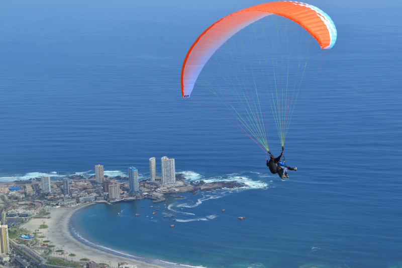 Paragliding over the bay of Iquique