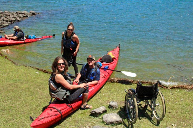 Transferring into the kayaks