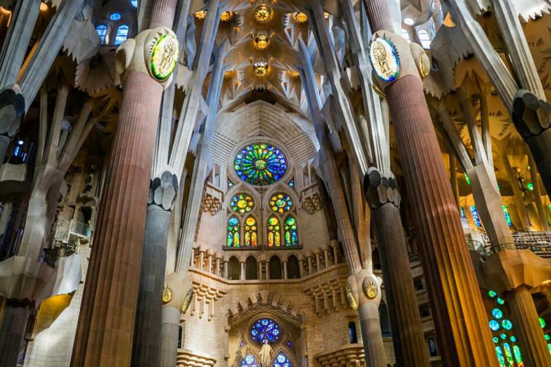 The interior of the Sagrada Familia