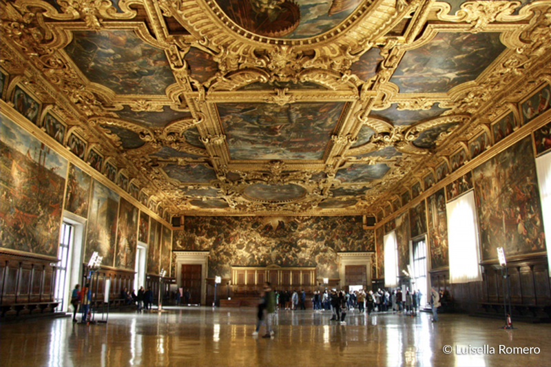 Interior of Doge's Palace with Venetian gothic style and large paintings