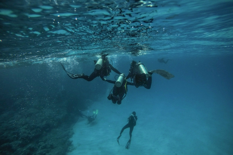 Two divers help another one dive through the Anakena Sea.