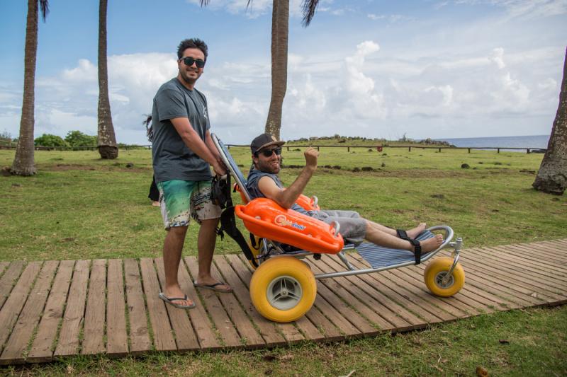 Anakena beach access and amphibious wheelchair