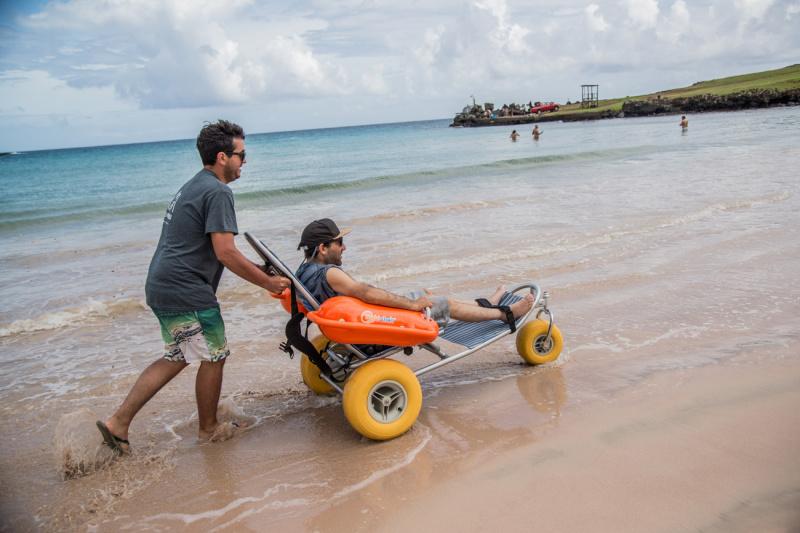 A man in an amphibious wheelchair