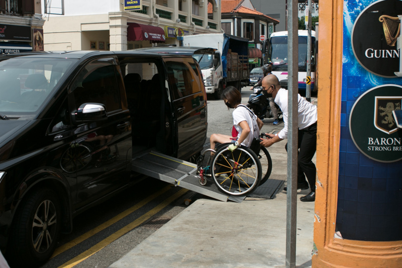 Accessible van with access ramp