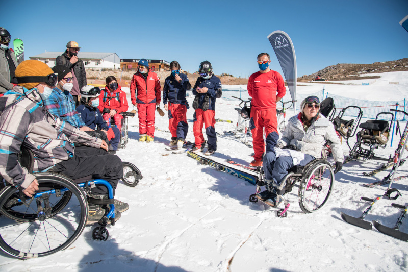 Students learn about adaptive skiing