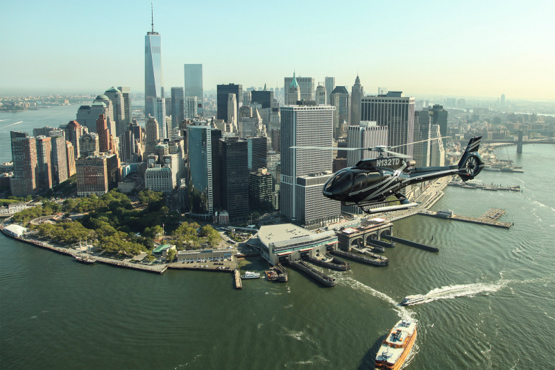 Aerial view of Manhattan from a helicopter