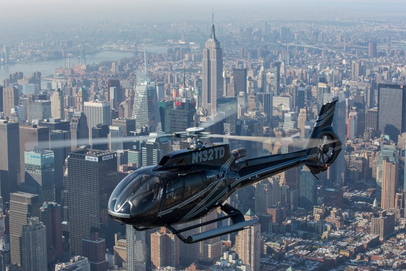 View of Manhattan skyline from a helicopter