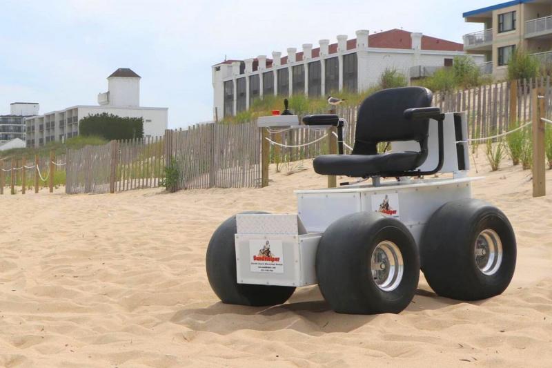 The beach wheelchair can go on any soft surface