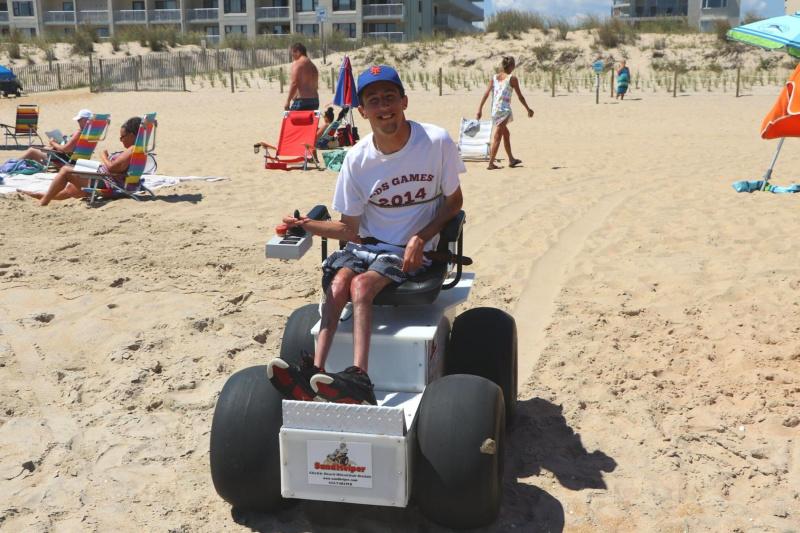 The beach wheelchair in action