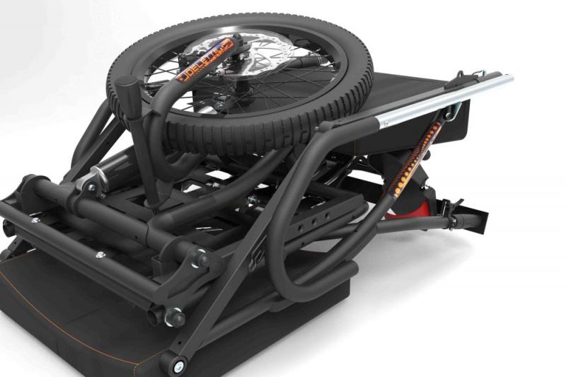 Folded joëlette wheelchair