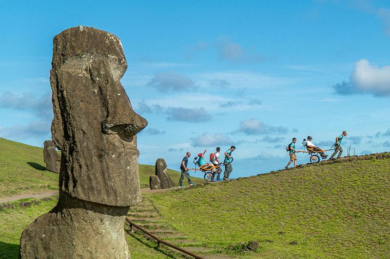 Trekking Easter Island with a jöelette wheelchair