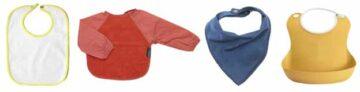 4 soorten slabbetjes: traditionele slab, slab met mouwen, bandana slab en slab met opvangbak