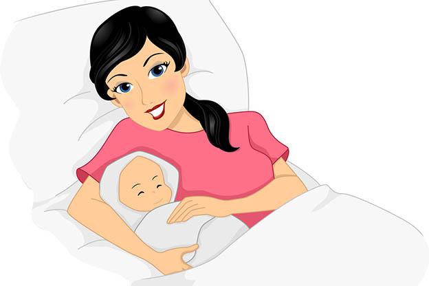 Illustratie van een jonge moeder met haar pasgeboren baby
