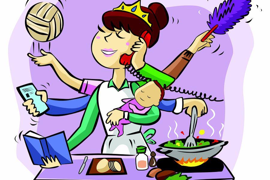Drukke moeder cartoon