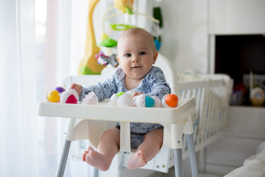 baby 23 weken oud kinderstoel