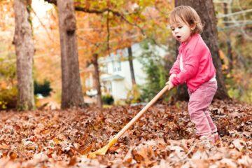 Peuter is aan het buitenspelen en veegt bladeren op