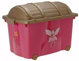 Roze plastic speelgoedkist
