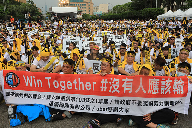 As Uber and Taxi Drivers Take to the Streets, Taiwan's