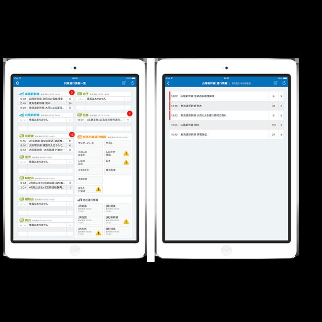新幹線の乗務員が最新の運行情報を常に把握・確認し、<br/>お客様に提供するためのアプリです。