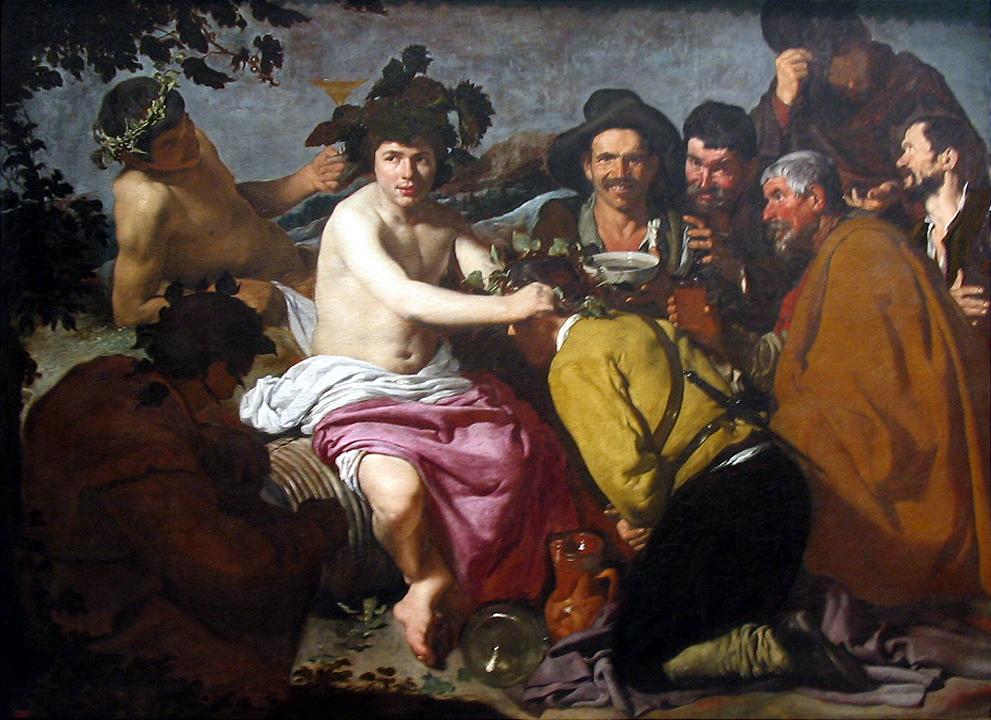 El triunfo de Baco, (1628-29), conocida como Los borrachos y considerada la obra maestra de este periodo. Los adoradores de la derecha están modelados con un empaste denso y en unos colores que corresponden a su etapa juvenil. Sin embargo, la luminosidad del cuerpo desnudo y la presencia del paisaje de fondo muestran una evolución en su técnica.46