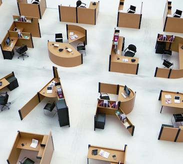 Tipograf a inspirada en los espacios de trabajo de las for Cubiculos de oficina