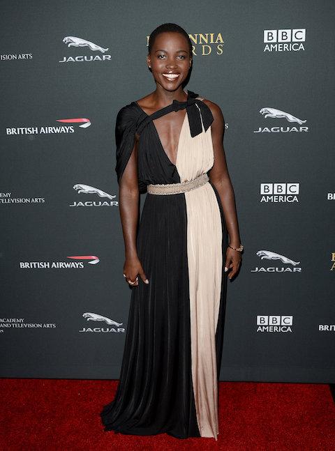 Lupita-Nyongo-wore-colorblock-dress-BAFTA-LA-Jaguar