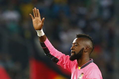 Cameroon's goalkeeper Charles Itandje waves after their international friendly soccer match against Germany in Moenchengladbach