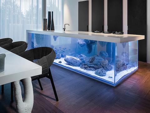 La cocina del futuro incluye un acuario gigante Peceras de diseno