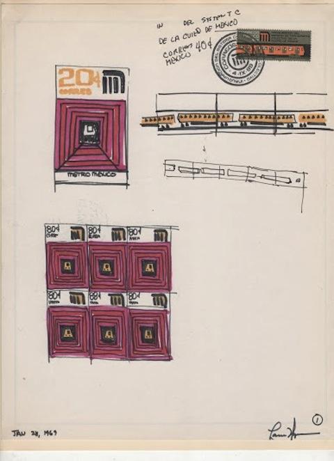 Bocetos para la estampilla conmemorativa de la inauguración del Metro, 1969. Cortesía MUAC
