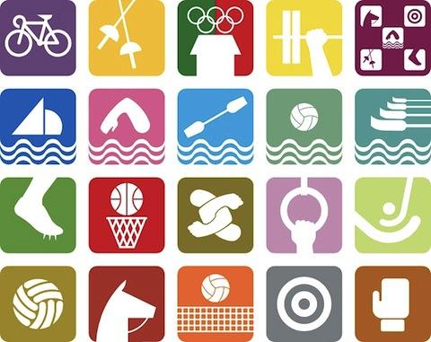 Símbolos deportivos para México 68. Cortesía MUAC