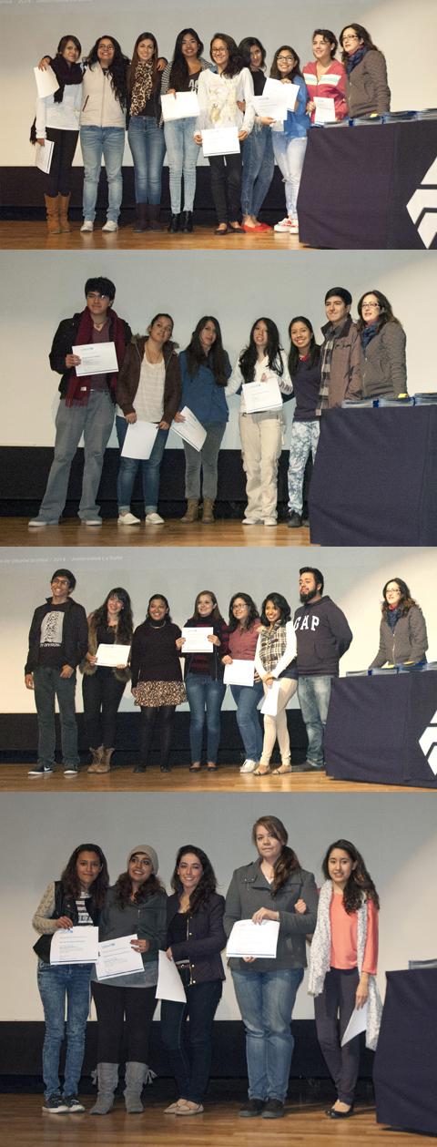 Equipos ganadores junto a Mónica Sayrols,  encargada de prense de UNICEF México.