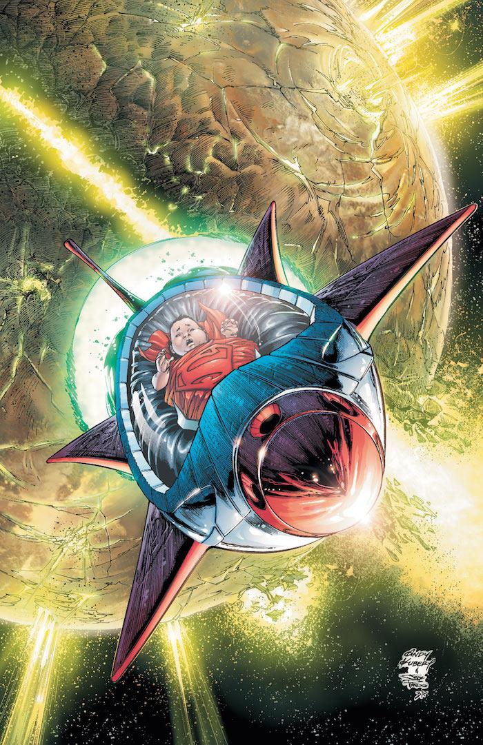 Superman llega desde Criptón a la Tierra, siendo un niño, a bordo de un artefacto volador.
