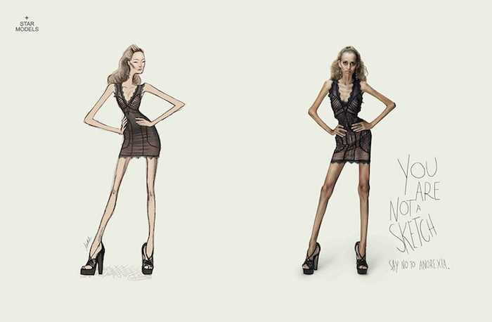 CAMPAÑA SOCIAL You are not a sketch, say no to anorexia