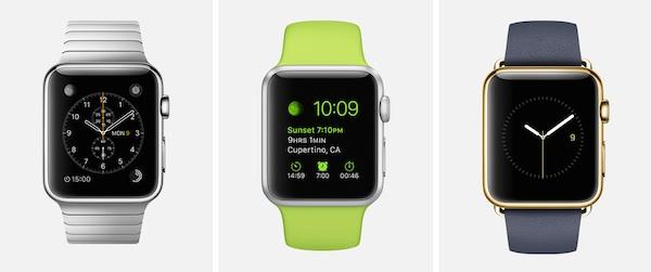 Las tres líneas del Apple Watch.