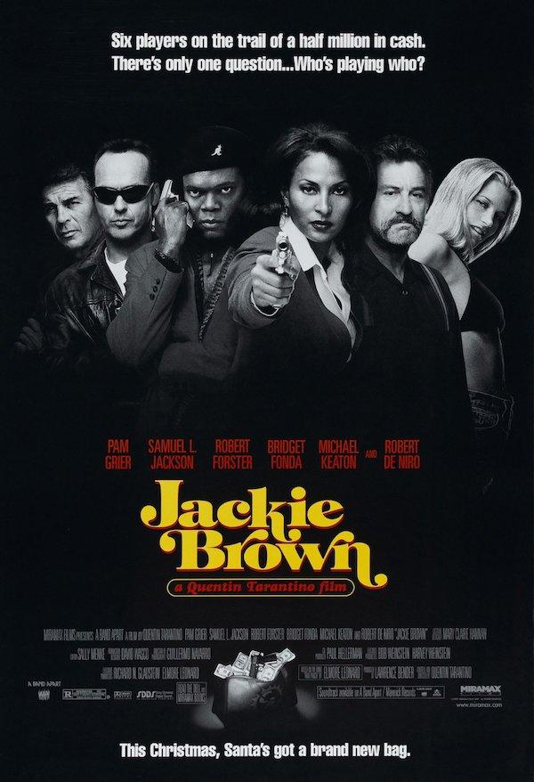 Jackie Brown, de Quentin Tarantino, el filme fue protagonizada por Pam Grier en 1997 El logotipo se basa en la tipografía ITC Tiffany, diseñado por Ed Benguiat en 1974 y hace referencia a la película de Foxy Brown de 1974.