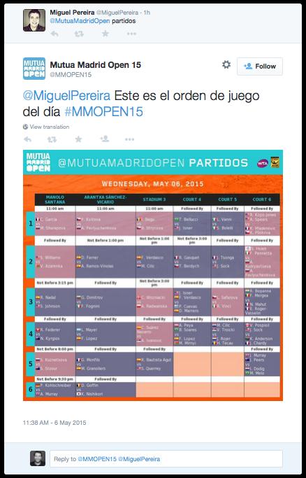 Mutua Madrid Open - autoresponder en Twitter de partidos