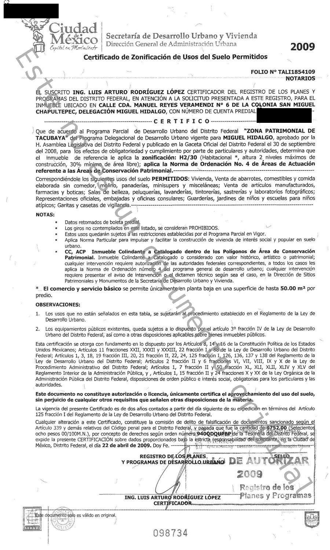 Certificado Uso de Suelo 2009