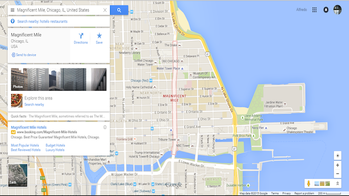 Magnificent Mile, Michigan. Google Maps.