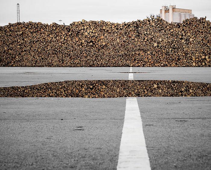FOTO Pila de madera reflejada en un charco