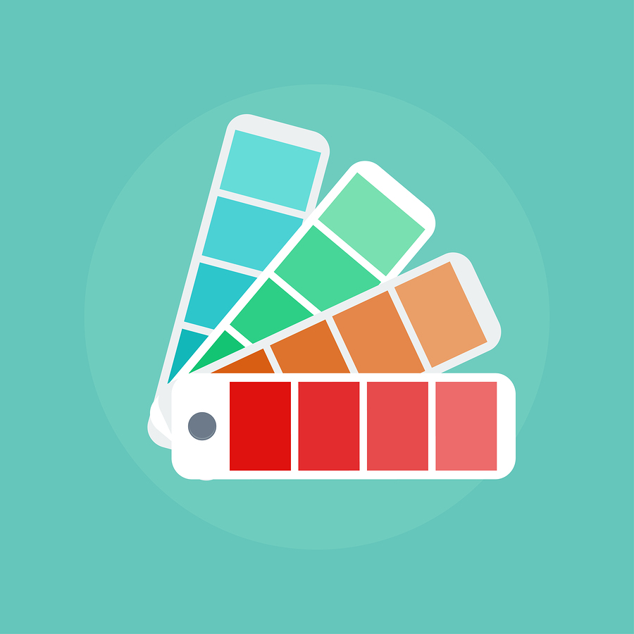 Color swatch concept icons. Color swatch illustration. Color palette guide. Vector color scale. Design color guide fan catalogue palette swatch. Coloured swatches book. Color palette icon.