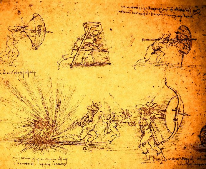Leonardo's Da Vinci engineering drawing from 1503 on textured background.