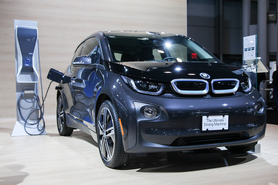 NEW YORK - APRIL 1: BMW exhibit 2015 BMW i3 at the 2015 New York International Auto Show during Press day,  public show is running from April 3-12, 2015 in New York, NY.