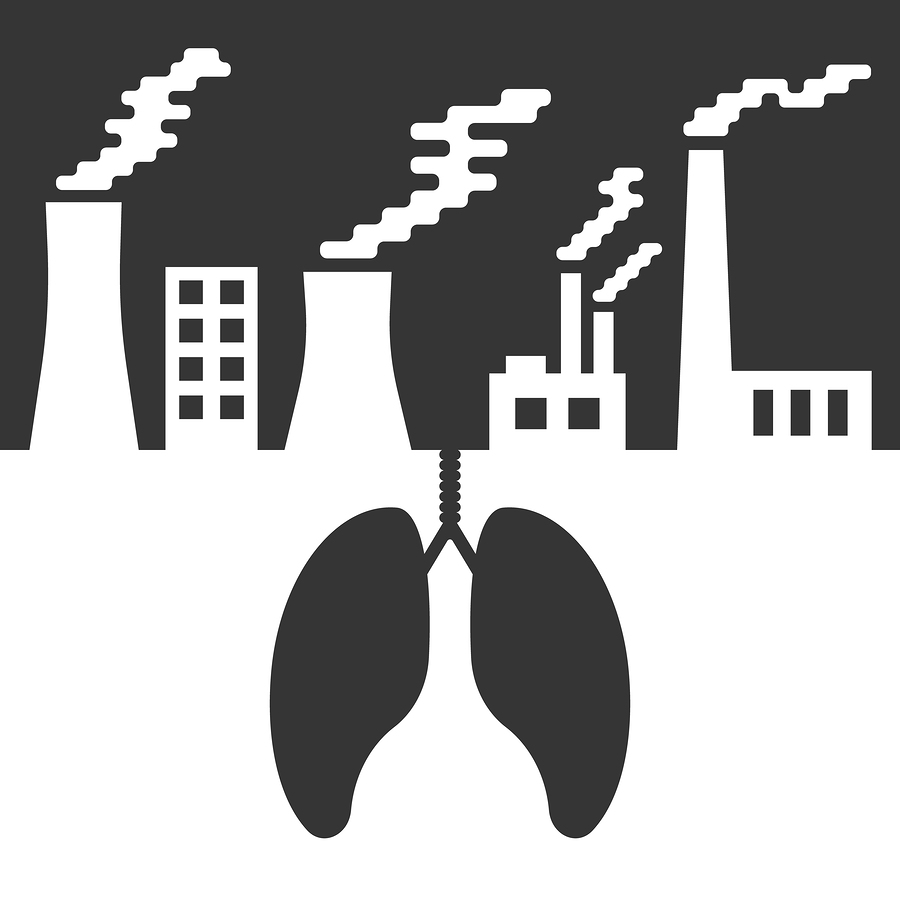 environmental issues with lungs and air pollution. concept of ecocatastrophe, air contamination, pulmonary disease, ecological catastrophe and bionomics. trendy modern design vector illustration