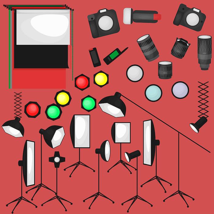 Set of photo studio equipment, paper photo background, light soft flat icons,  flash, reflector, softbox, professional photographic technology